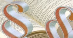 2 große orange Paragraphen vor Gesetzbuch